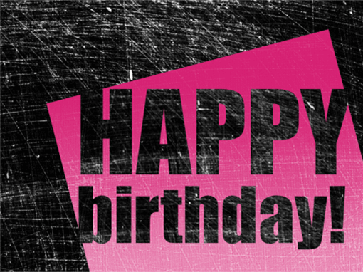 Birthday card, scratched background  (pink, black, half-fold)