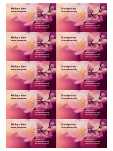 Business cards (flower photo)