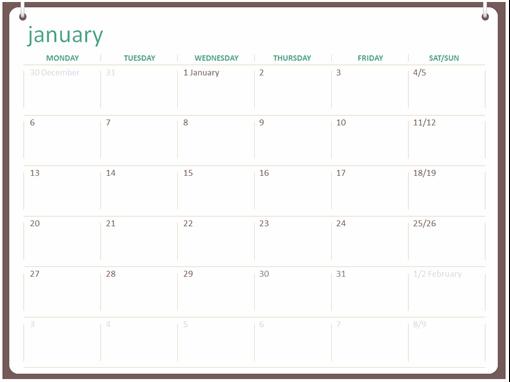 Classic wall calendar (Mon-Sun, two-ring design)