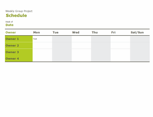 Group schedule