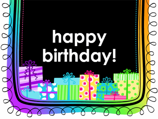 Birthday card (gifts on black background, half-fold)