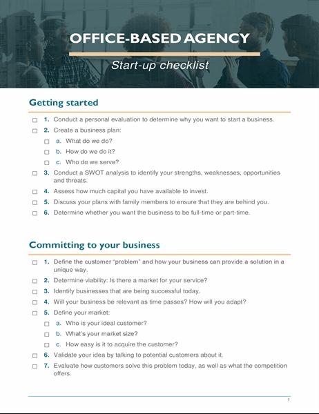 Small business start-up checklist