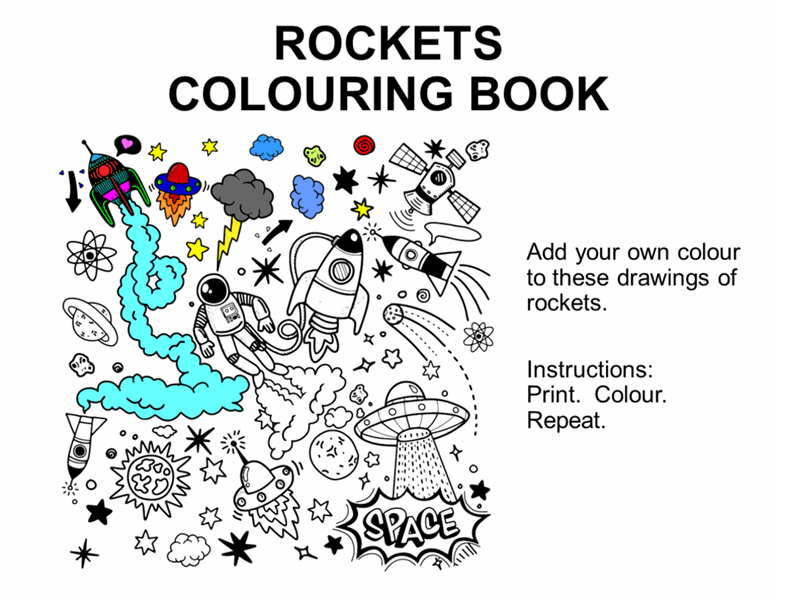 Rockets colouring book