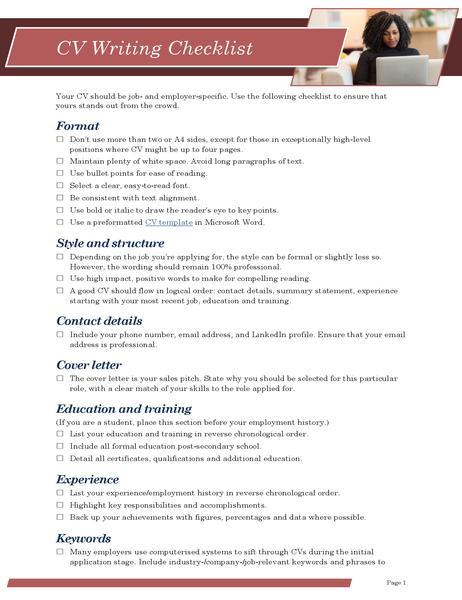 CV writing checklist