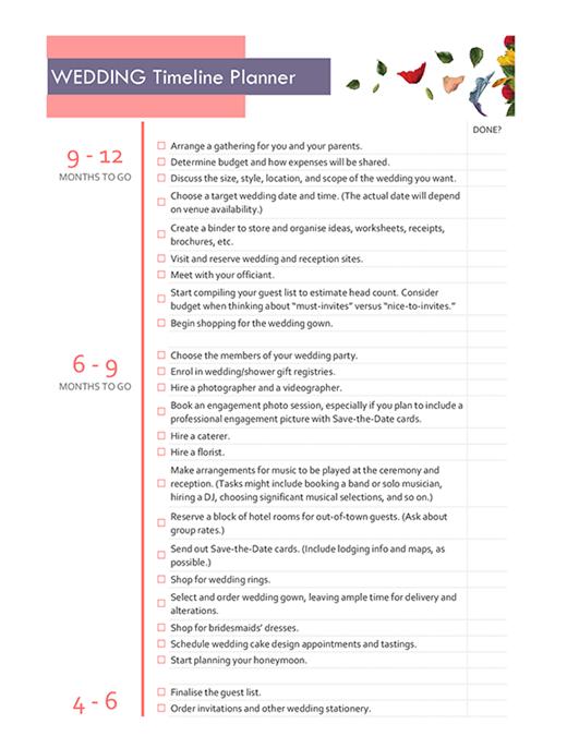 Wedding timeline planner