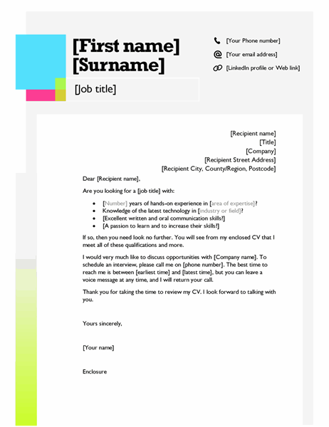Sticky note cover letter