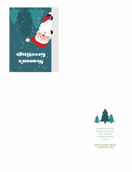Business Christmas greeting card (with Santa, quarter-fold, A2 size)