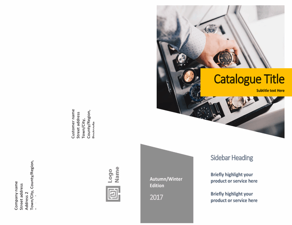 Product catalogue (Forms design, half-fold, 8 pages)
