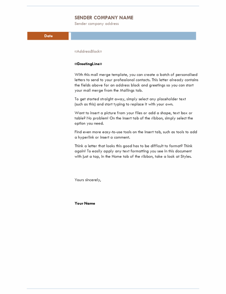 Mail merge letter (Median theme)
