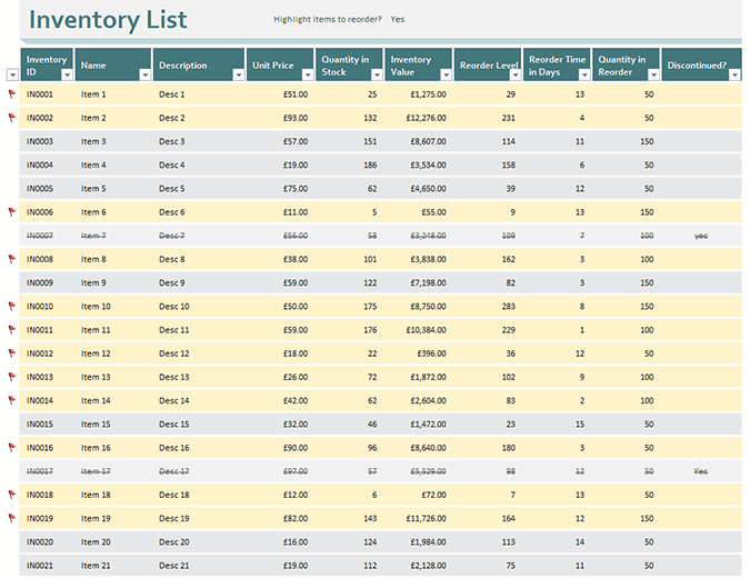 Inventory list with reorder highlighting