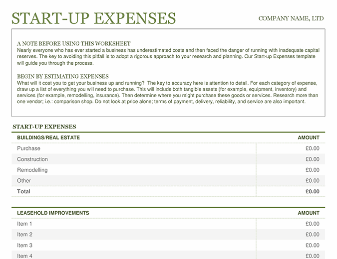 Startup expenses