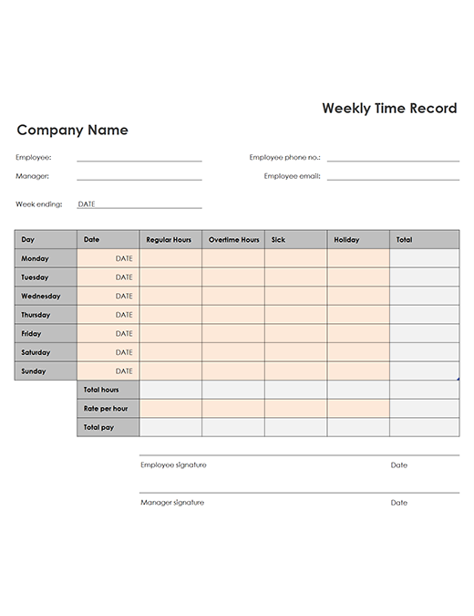 Weekly time sheet (8 1/2 x 11, portrait)