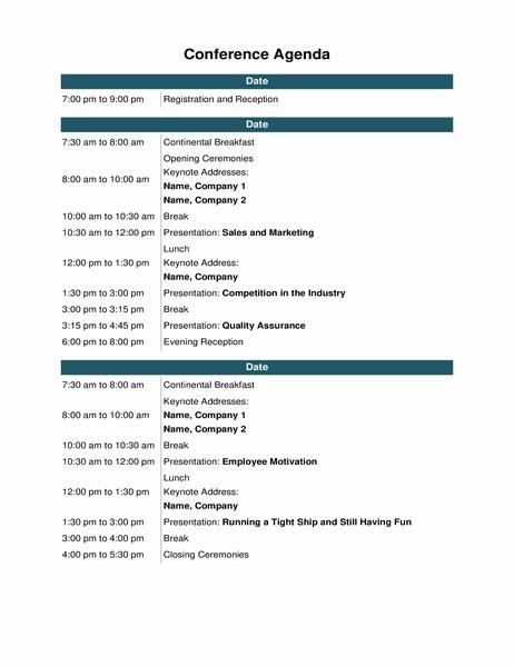 Conference event agenda