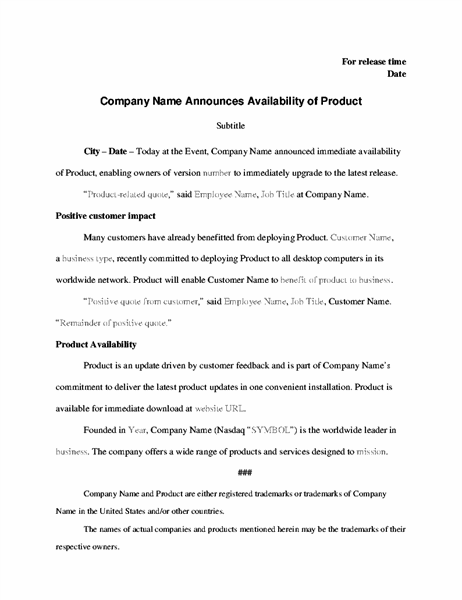 Press release with product announcement