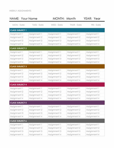 Weekly assignment calendar