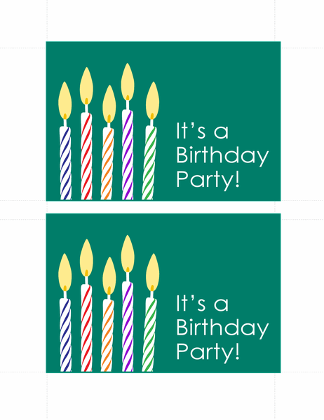 Birthday invitation postcards (2 per page)