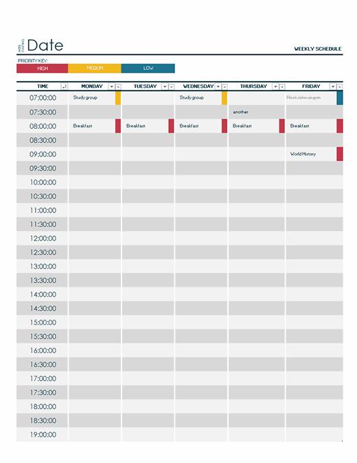 Weekly university schedule