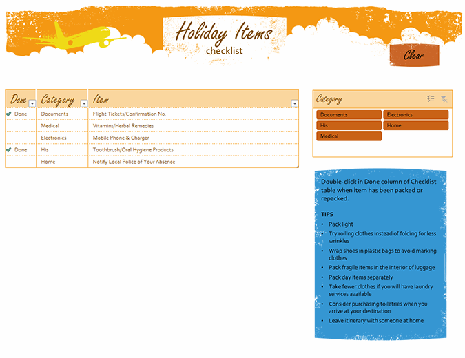 Holiday items checklist
