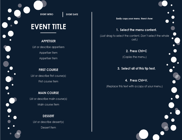 Menu (Elegant party design)
