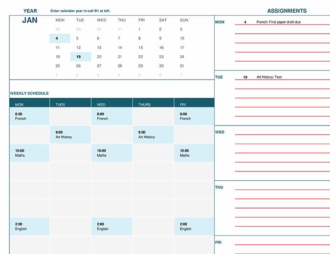 Student calendar (Mon)