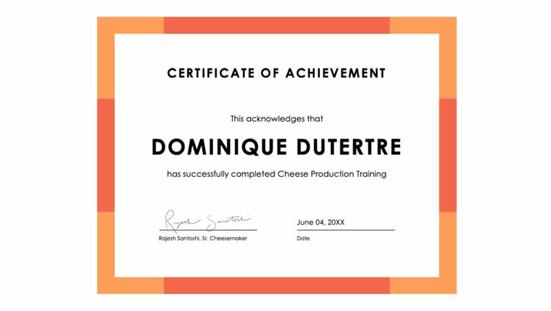 Colour band certificate of achievement