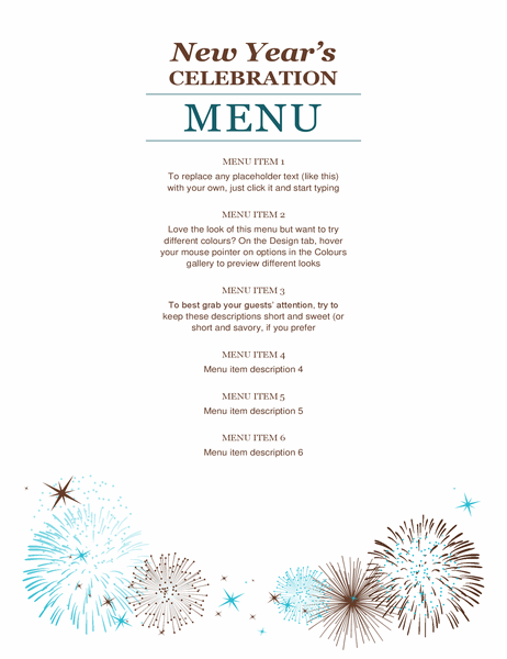 New Year's party menu