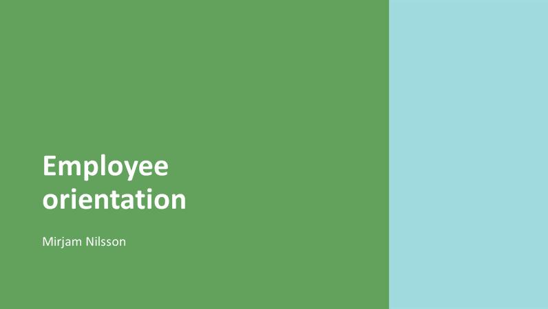 Employee orientation presentation