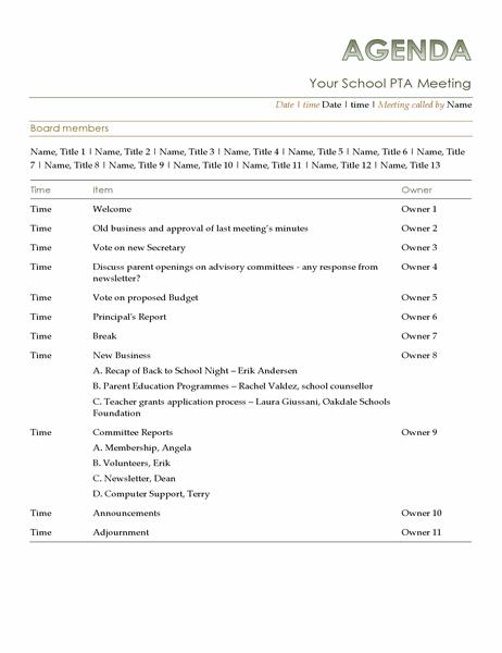 PTA agenda