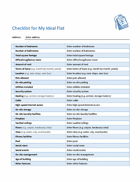 Checklist for selecting my ideal flat
