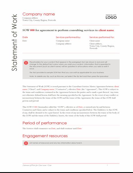 Statement of Work (Red design)