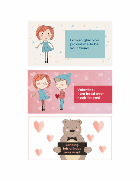 Valentines for children (12 designs, 3 per page)