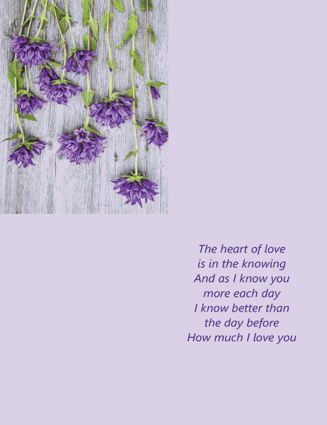 Valentine's Day card with poetry (quarter-fold)