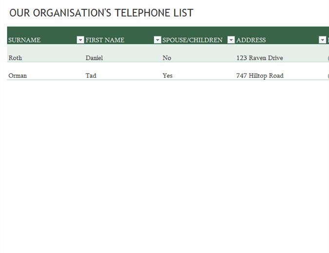 Employee phone list