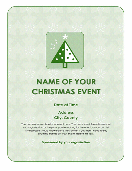 Christmas event flyer (with green tree)