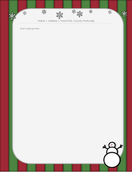 Christmas stationery (with snowman)
