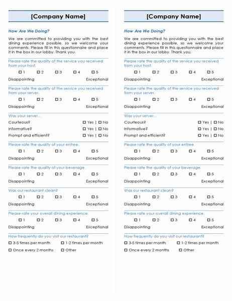 Restaurant survey (2 per page)