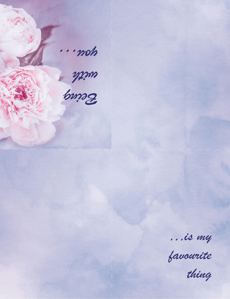 Romance card (with rose, quarter-fold)