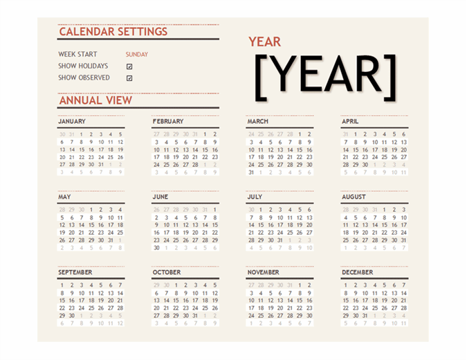 Any year calendar with public holidays