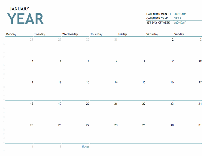 Any year one-month calendar with notes