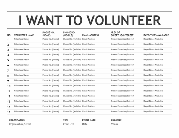 Volunteer list