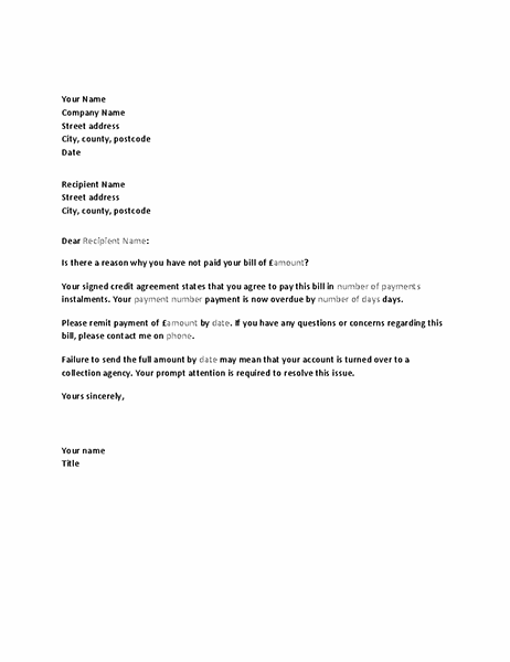 Letter requesting payment of overdue account