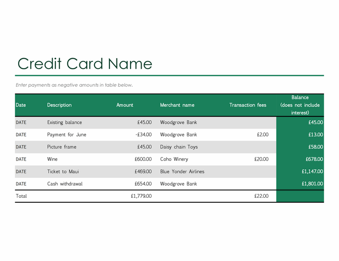Credit card log