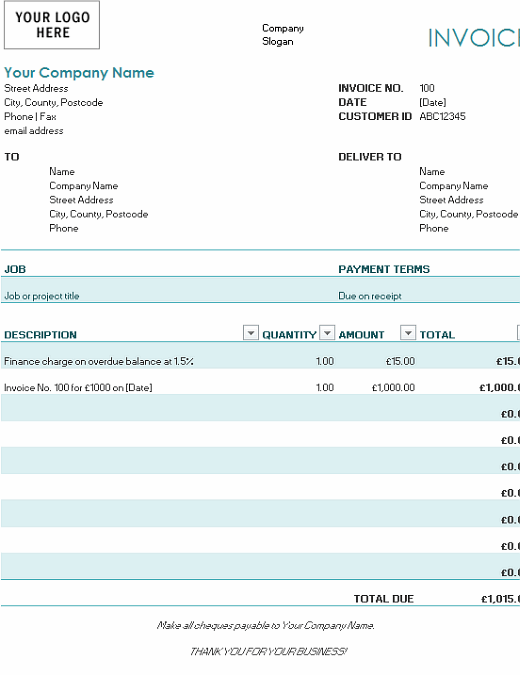 Invoice with finance charge (blue)