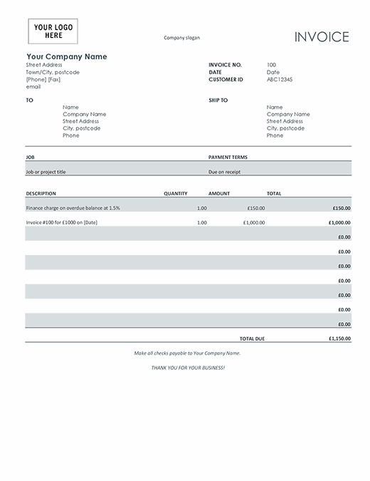 Invoice with finance charge (grey)