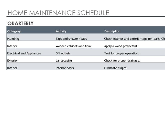 Maintenance Schedule Template