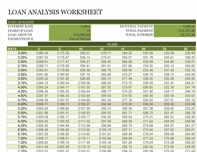 Loan analysis worksheet