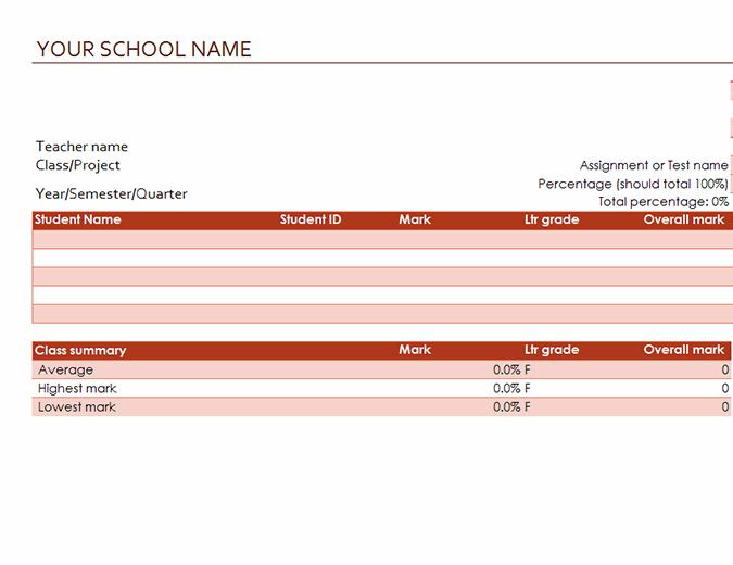 Teacher's grade book (based on percentages)