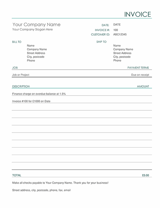 Invoice with finance charge (simple)