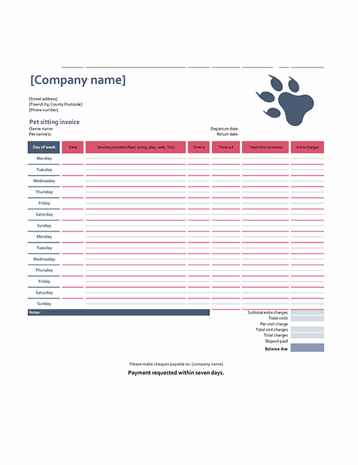 Pet-sitting invoice