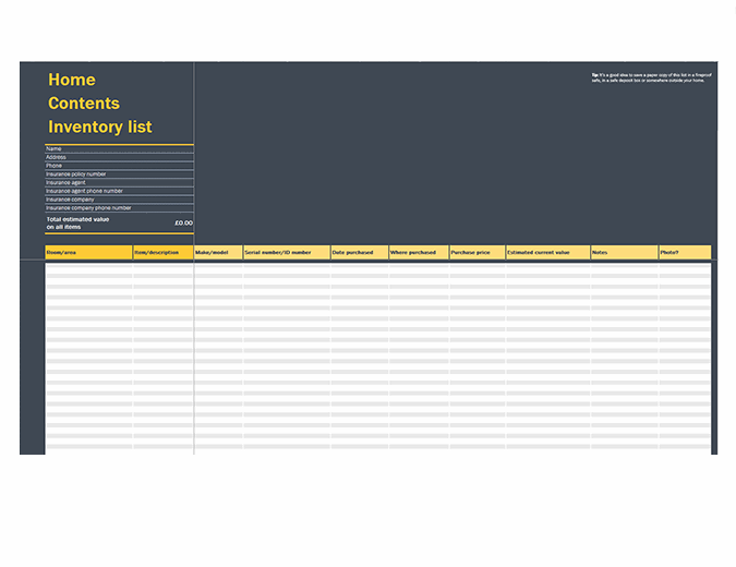 Home contents inventory list